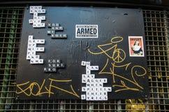 Art de rue dans le bonnetier Lane Melbourne Photos libres de droits