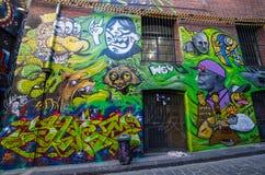 Art de rue dans le bonnetier Lane Melbourne Photos stock