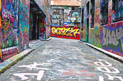 Art de rue de ruelle de bonnetier à Melbourne Photo stock
