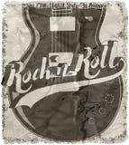 Art de vecteur de pièce en t de conception graphique de guitare d'affiche de rock Photographie stock libre de droits