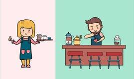 Art de versement de latte de barman dans le café et un café de portion de serveuse de dame illustration stock