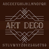 Art deco alphabet vector font in outline style. Serif type letters and numbers. Stock Photo