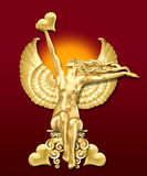 Art deco angel w/hearts. A golden art deco inspired valentine's angel Stock Image