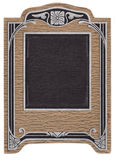 Art Deco Antique Picture Frame. Studio portrait frame from the 1920's.  Brown embossed leather pattern trimmed in black and silver bars and scroll work Royalty Free Stock Image