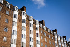 Art Deco apartments, London. A diagonal view looking up at a block of 1930's Art Deco syle flats in West London stock image