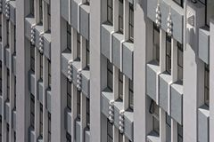 Art deco architecture. Art deco building, detail of walls and windows Stock Photo