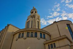 Art Deco architecture in Brussels,modern Church Stock Images