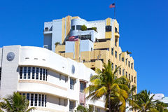 Art Deco architecture of Miami Beach waterfront. Royalty Free Stock Images