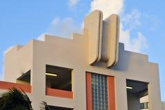 Art Deco Architecture Ocean Drive i den södra stranden, Miami arkivfoto