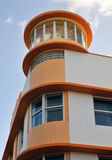 Art Deco Architecture Ocean Drive i den södra stranden, Miami Arkivbilder