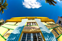 Art deco architecture at ocean drive in miami Royalty Free Stock Photos