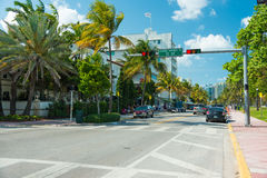 Art Deco architecture at Ocean Drive in South Beach, Miami Royalty Free Stock Images
