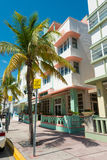 Art Deco architecture at Ocean Drive in South Beach, Miami Royalty Free Stock Photography