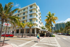 Art Deco architecture at Ocean Drive in South Beach, Miami Royalty Free Stock Image