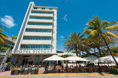 Art Deco architecture at Ocean Drive in South Beach, Miami Stock Photos