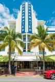 Art Deco architektura przy ocean przejażdżką w południe plaży, Miami Zdjęcie Royalty Free