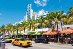 Art Deco architektura przy ocean przejażdżką w południe plaży, Miami Obraz Stock