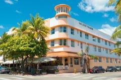 Art Deco architektura przy ocean przejażdżką w południe plaży, Miami Fotografia Stock