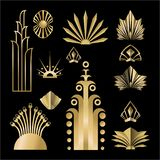 Art Deco template golden-black DIY elements set. Art deco /Art Nuvo set of DIY elements golden black for print and web illustration , geometric luxury elements vector illustration