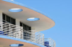 Art Deco balcony on a bright sunny day. Upper balcony of an Art Deco building on Miami Beach Royalty Free Stock Photos