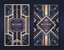 Art deco banners. 1920s party invitation flyer, fancy golden ornamental design, vintage frames and patterns. Art deco stock illustration