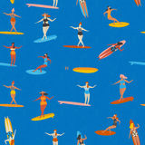 Art deco beach surfing poster in vector. Girl surfers in bikini seamless pattern in . Flat style illustration. Stock Photo