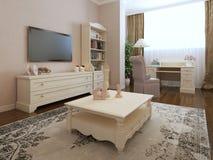 Art deco bedroom interior. 3d render Stock Photography