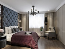 Art Deco Bedroom Interior Design classico moderno illustrazione vettoriale
