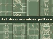 Art Deco bezszwowi wzory Art Deco geometryczny bezszwowy wzór Ustaleni retro tła Fotografia Stock