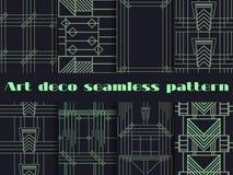 Art Deco bezszwowi wzory Art Deco geometryczny bezszwowy wzór Ustaleni retro tła Stylowi 1920s, 1930s Zdjęcie Stock