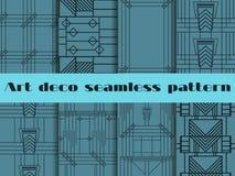 Art Deco bezszwowi wzory Art Deco geometryczny bezszwowy wzór Ustaleni retro tła Stylowi 1920s, 1930s wektor Zdjęcie Royalty Free