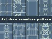 Art Deco bezszwowi wzory Art Deco geometryczny bezszwowy wzór Ustaleni retro tła Stylowi 1920s, 1930s wektor Obrazy Stock