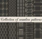 Art Deco bezszwowi wzory Set dziesięć geometrycznych tło Fotografia Royalty Free