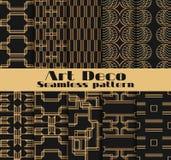Art Deco bezszwowi wzory Set dziesięć geometrycznych tło Projektuje 1920 ` s, 1930 ` s wektor Zdjęcie Stock