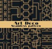 Art Deco bezszwowi wzory Set dziesięć geometrycznych tło Projektuje 1920 ` s, 1930 ` s wektor Obrazy Royalty Free