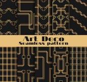 Art Deco bezszwowi wzory Set dziesięć geometrycznych tło Projektuje 1920 ` s, 1930 ` s wektor Zdjęcie Royalty Free
