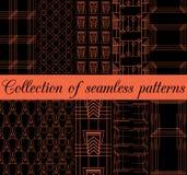 Art Deco bezszwowi wzory Set dziesięć geometrycznych tło Stylowy 1920& x27; s, 1930& x27; s Zdjęcie Stock