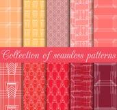 Art Deco bezszwowi wzory Set dziesięć geometrycznych tło Stylowy 1920& x27; s, 1930& x27; s Zdjęcia Stock