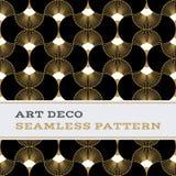 Art Deco biali i złoto bezszwowi deseniowi czarni colours 06 Zdjęcia Stock