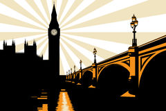 Art Deco Big Ben London Illustration Royalty Free Stock Image