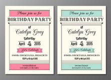 Art Deco Birthday Party Invitation Stock Images