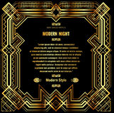 Art deco border with gold grid frame on a black background Stock Images