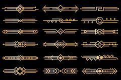 Art deco borders. Gold deco design dividers, book header ornament patterns. 1920s and 30s vintage luxury elements