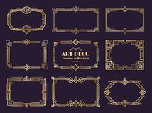 Art deco borders set. Golden 1920s frames, nouveau luxury geometric style, abstract vintage ornament. Vector art deco