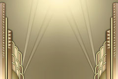 Art deco building frame w/spotlights Royalty Free Stock Photo