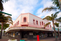 Art Deco building in Napier city. The old Central Hotel building in Napier is one of the city's best example of Art Deco architecture. Napier was destroyed by a Stock Photography
