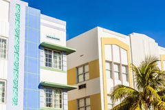 Art deco building at the Ocean Drive in Miami Beach Stock Images