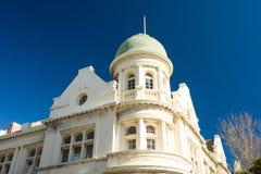 Art deco building with royal blue sky Stock Photos