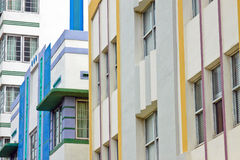 Art deco buildings. Windows on the side of Art Deco buildings in Miami, USA Stock Image