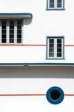 Art deco buildings. Windows on the side of Art Deco buildings in Miami, USA Stock Photos
